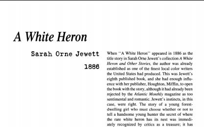 نقد داستان کوتاه A White Heron by Sarah Orne Jewett