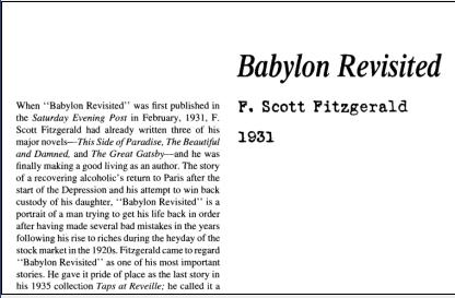 نقد داستان کوتاه Babylon Revisited by F. Scott Fitzgerald