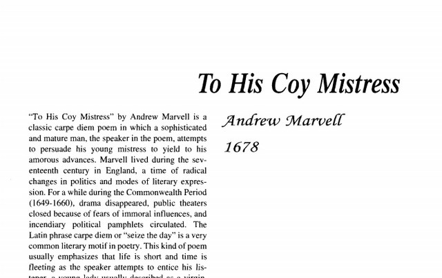 نقد شعر    To His Coy Mistress by Andrew Marvell