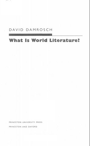 What Is World Literature by David Damrosch