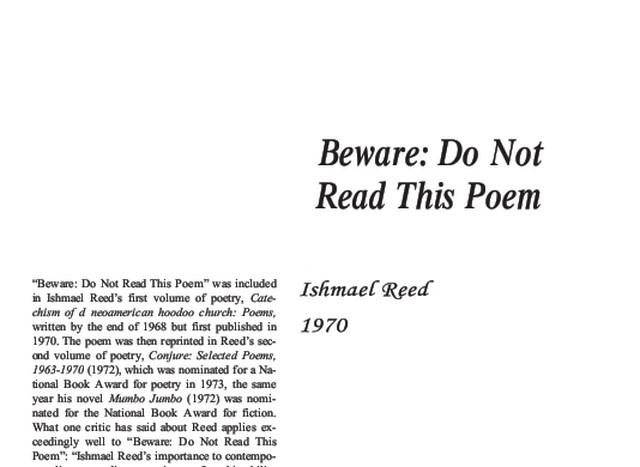 نقد شعر beware do not read this poem by ishmael reed