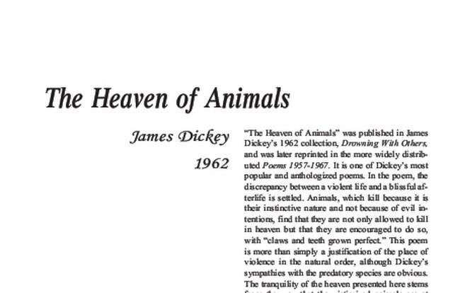 نقد شعر   The Heaven of Animals by James Dickey