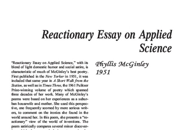 reactionary essay on applied science by phyllis mcginley Dive deep into phyllis mcginley with extended analysis,  mcginley, phyllis analysis  reactionary essay on applied science phyllis mcginley.