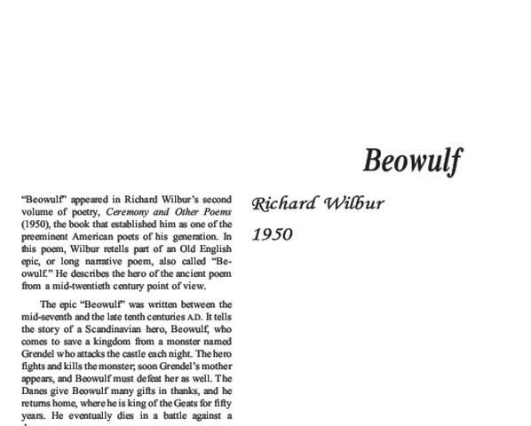 نقد شعر beowulf by richard wilbur