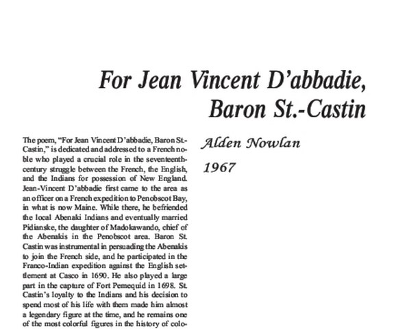 نقد شعر   For Jean Vincent D'abbadie,Bar by Alden Nowlan
