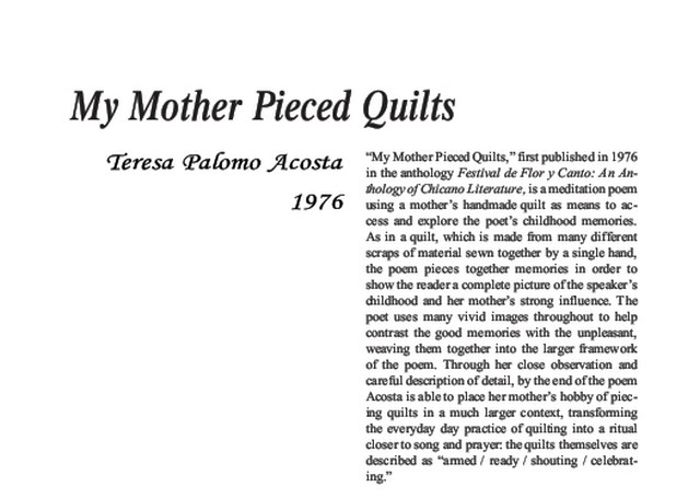 نقد شعر   My Mother Pieced Quilts by Teresa Palomo Acosta