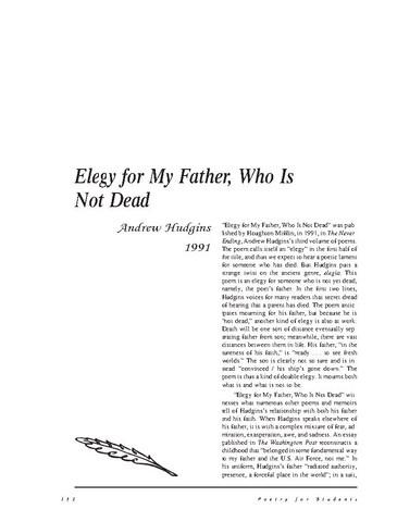 نقد شعر   Elegy for My Father, Who is Not Dead by Andrew Hudgins