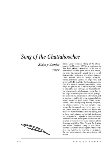 نقد شعر   The Song Of The Chattahoochee by Sidney Lanier