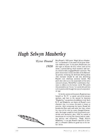 نقد شعر   Hugh Selwyn Mauberley  by Ezra Pound