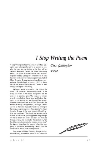 نقد شعر    I Stop Writing the Poem by Tess Gallagher