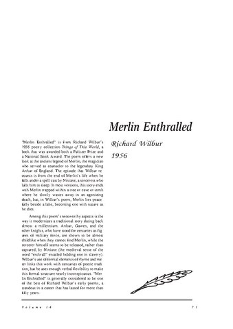 نقد شعر    Merlin Enthralled by Richard Wilbur