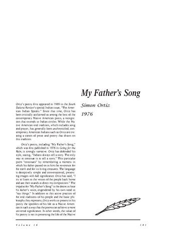 نقد شعر   My Fathers Song by Simon  Ortiz