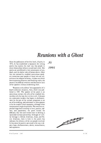 نقد شعر   Reunions with a Ghost by Ai