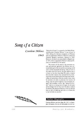 نقد شعر   Song of a Citizen by Czeslaw Milosz