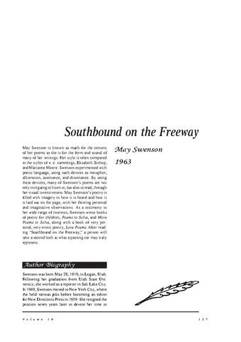 نقد شعر    Southbound on the Freeway by May Swenson