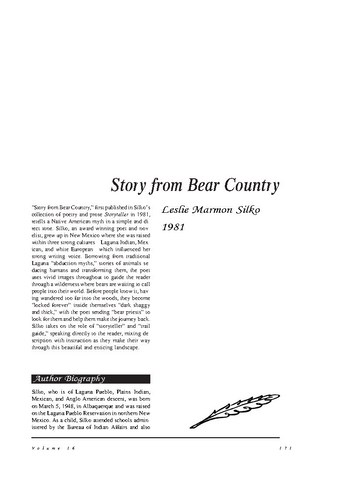 نقد شعر   Story from Bear Country by Leslie Marmon Silko