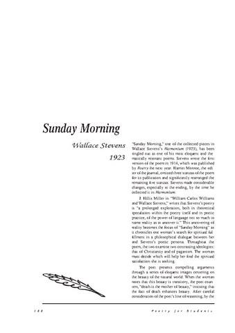 نقد شعر    Sunday Morning by Wallace Stevens