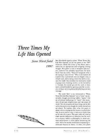 نقد شعر    Three Times My Life Has Opened by Jane Hirshfield