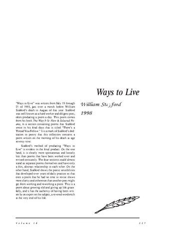 نقد شعر   Ways to Live by William Stafford