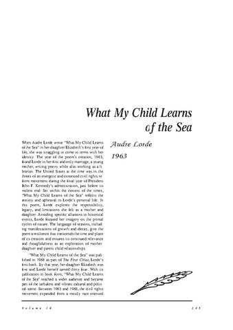 نقد شعر   What My Child Learns of the Sea by Audre Lorde