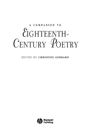 A Companion To Eighteenth Century Poetry by Christine Gerrard