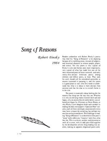 نقد شعر song of reasons by robert pinsky
