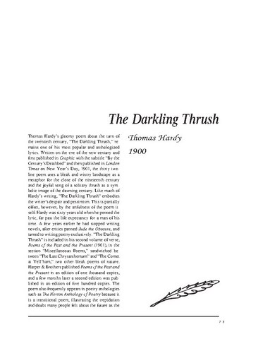 نقد شعر   The Darkling Thrush by Thomas Hardy