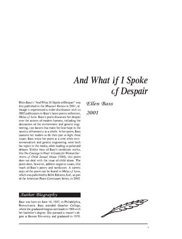 نقد شعر   And What If I Spokeof Despair by Ellen Bass