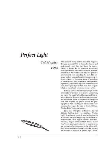 نقد شعر   Perfect Light by Ted Hughes