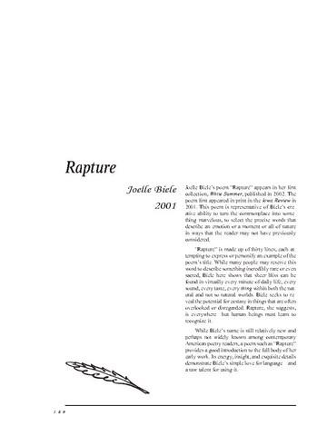 نقد شعر   Rapture by Joelle Biele
