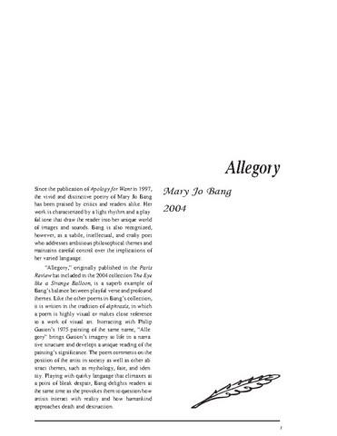 نقد شعر allegory by mary jo bang