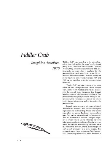 نقد شعر   Fiddler Crab by Josephine Jacobsen