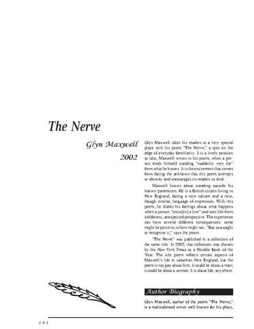 نقد شعر   The Nerve by Glyn Maxwell