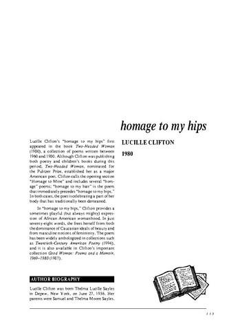 نقد شعر   homage to my hips by Lucille Clifton