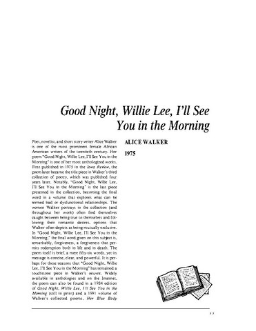 نقد شعر   Good Night, Willie Lee, Ill See You in the Morning by Alice Walker