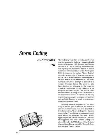 نقد شعر storm ending by jean toomer