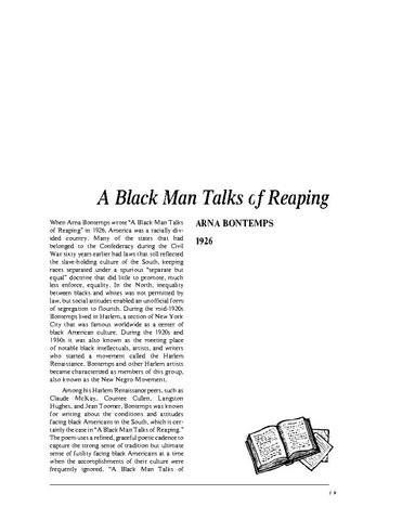 a black man talks of reaping