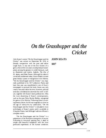"""on the grasshopper and the cricket by john keats John keats background of john keats  it is a parallel to aesop's fable """"the ant  and the grasshopper"""" the ant  the cricket's song, in warmth increasing ever."""