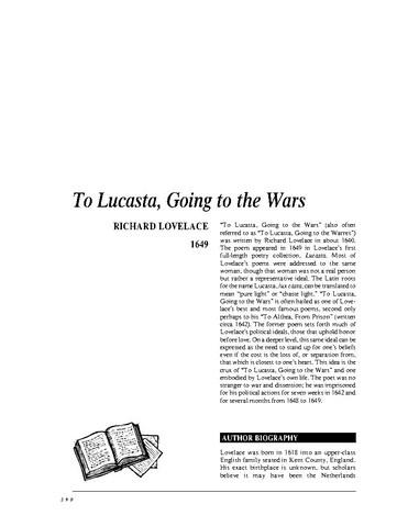 نقد شعر to lucasta, going to the wars by richard lovelace