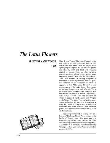 نقد شعر   The Lotus Flowers by Ellen Bryant Voigt