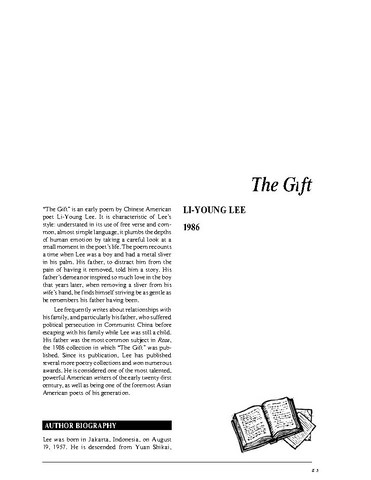 نقد شعر   The Gift by Li-Young Lee