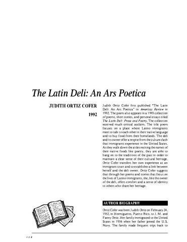 نقد شعر   The Latin Deli An Ars Poetica by Judith Ortiz Cofer