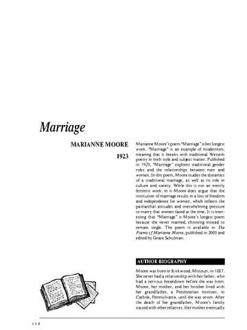 نقد شعر   Marriage Poem by Marianne Moore