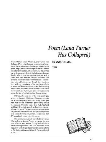 نقد شعر   Poem [Lana Turner has collapsed!] by Frank OHara
