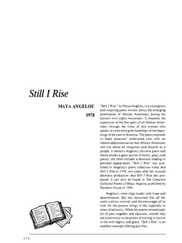 نقد شعر   Still I Rise by Maya Angelou