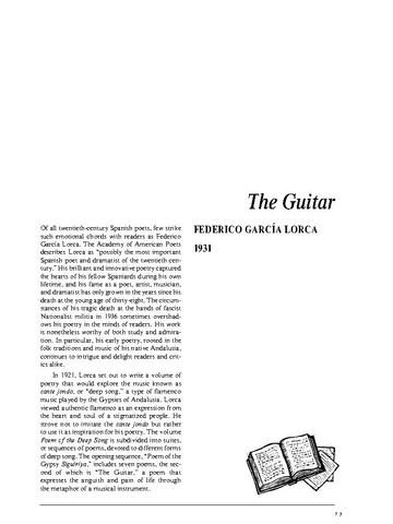 نقد شعر   The Guitar by Federico García Lorca