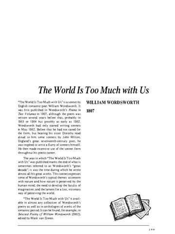 نقد شعر   The World Is Too Much With Us by William Wordsworth