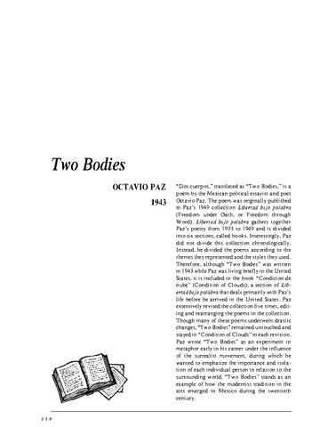 نقد شعر   two bodies by octavio paz