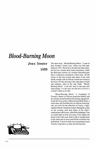 نقد داستان کوتاه   Blood-Burning Moon by Jean Toomer