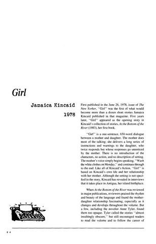 نقد داستان کوتاه   Girl by Jamaica Kincaid